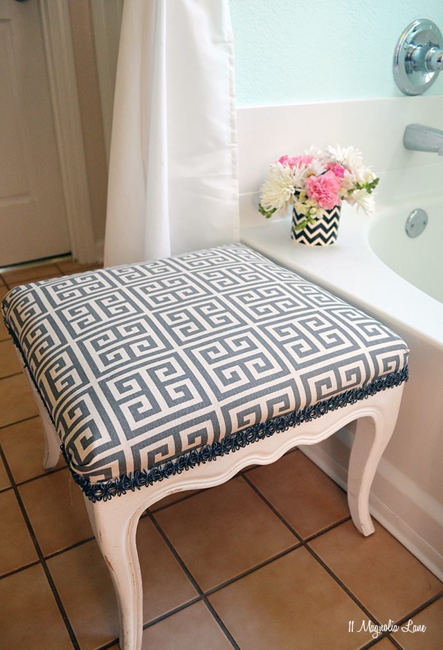 Grey Greek key footstool | 11 Magnolia Lane