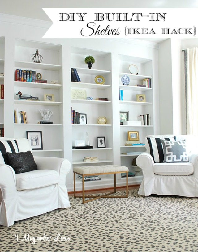 How to build a faux wall of built-in bookcases using IKEA billy bookshelves to create beautiful shelving. Full tutorial and how to do it in this post.
