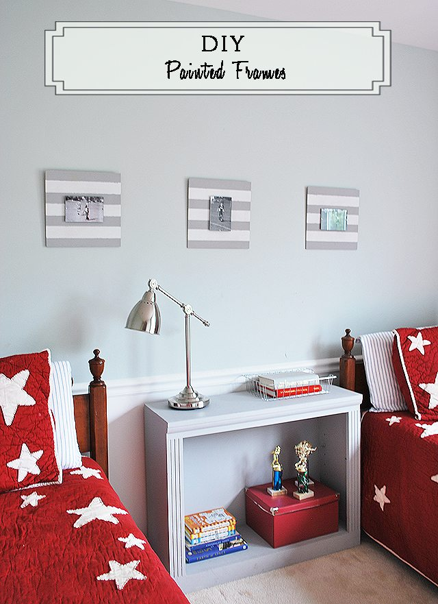 Easy DIY painted frames to display sports pictures in kids' rooms
