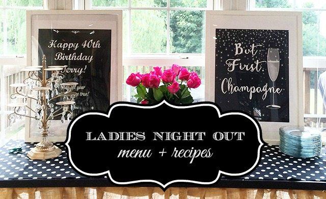 ladies night 40th birthday recipes header