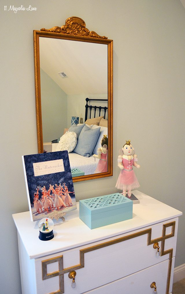 Gold greek key IKEA dresser and vintage mirror | 11 Magnolia Lane