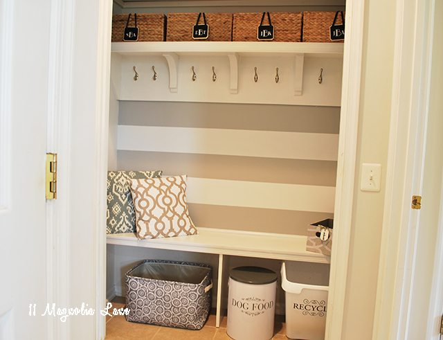 How to convert a hallway closet into an open mudroom