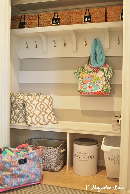 Hallway Closet turned a mini mudroom with hidden storage | 11 Magnolia Lane