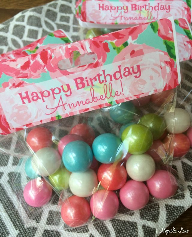 Lilly Pulitzer birthday party treat bags | 11 Magnolia Lane