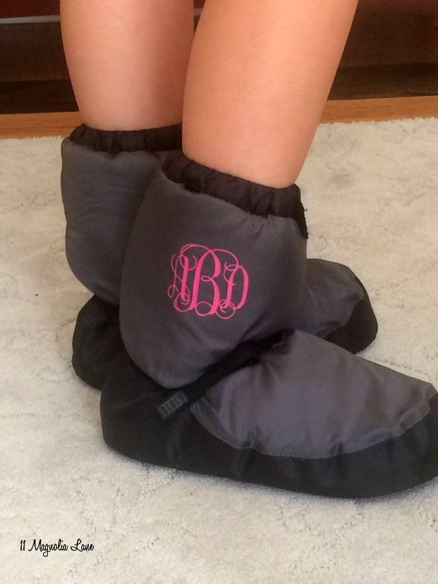 Monogrammed Bloch ballet booties | 11 Magnolia Lane
