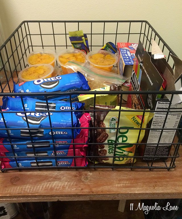 Organized lunchbox items in pantry | 11 Magnolia Lane