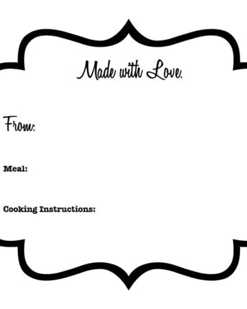 Easy label to print to attach to a meal for someone in need or when they have just had a baby