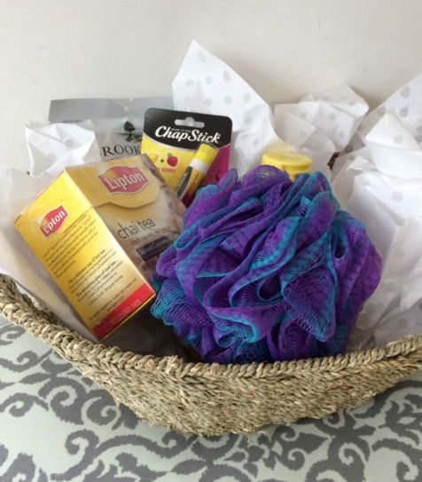 a basket filled with inexpensive items is a nice gift for a sick friend-chapstick, lotion, tea, chocolate