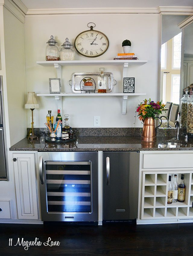 French country kitchen with off-white cabinets and copper accents | 11 Magnolia Lane