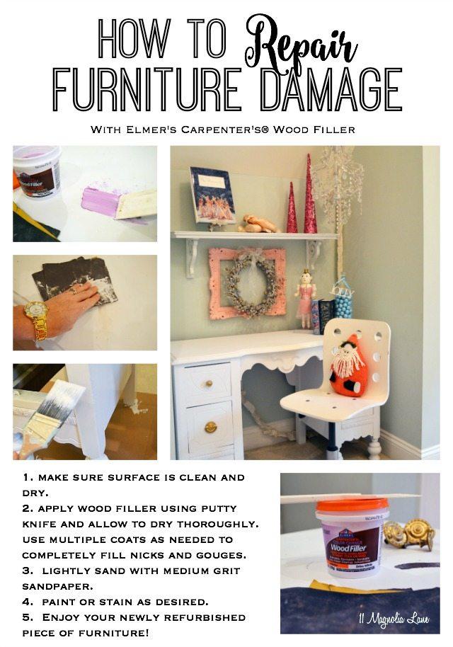 How to Use Elmer's Carpenter's Wood Filler to repair damaged furniture | 11 Magnolia Lane