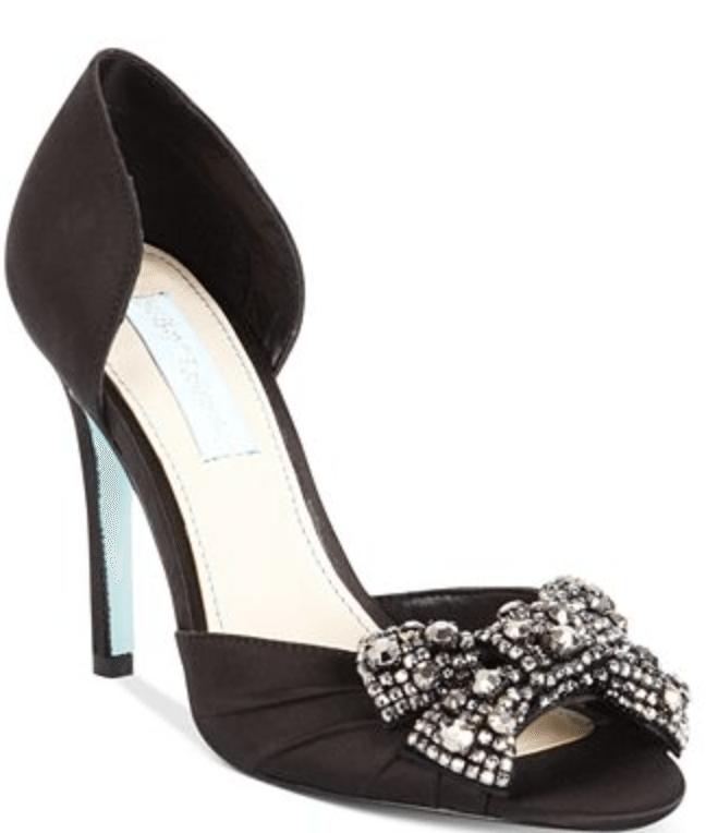 Black heels with rhinestone bow