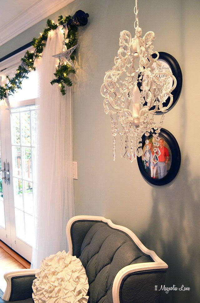 Christmas garland over French doors | 11 Magnolia Lane
