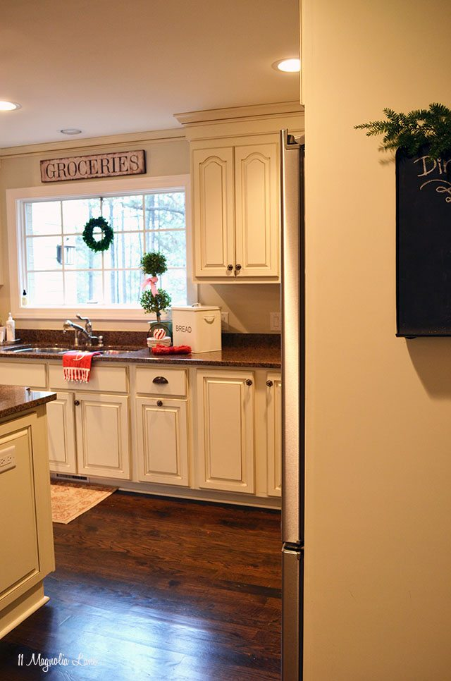 White kitchen decorated for Christmas | 11 Magnolia Lane