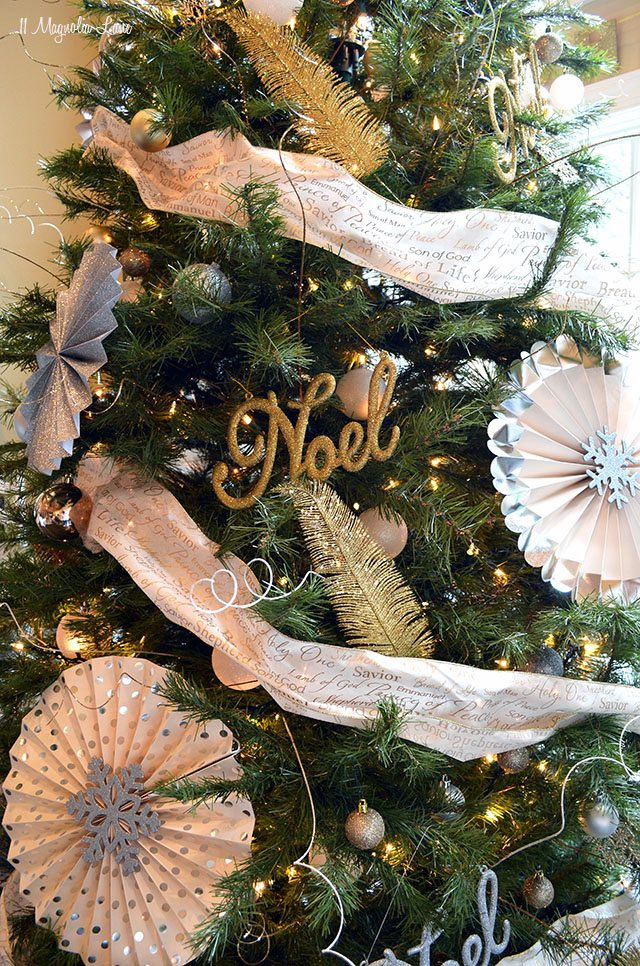 Gold, silver, and white Christmas tree | 11 Magnolia Lane