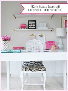 An organized home office space with decor inspired by Kate Spade
