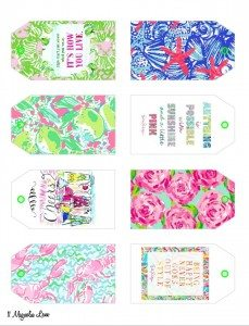 Free printable Lilly Pulitzer inspired labels/ gift tags | 11 Magnolia Lane