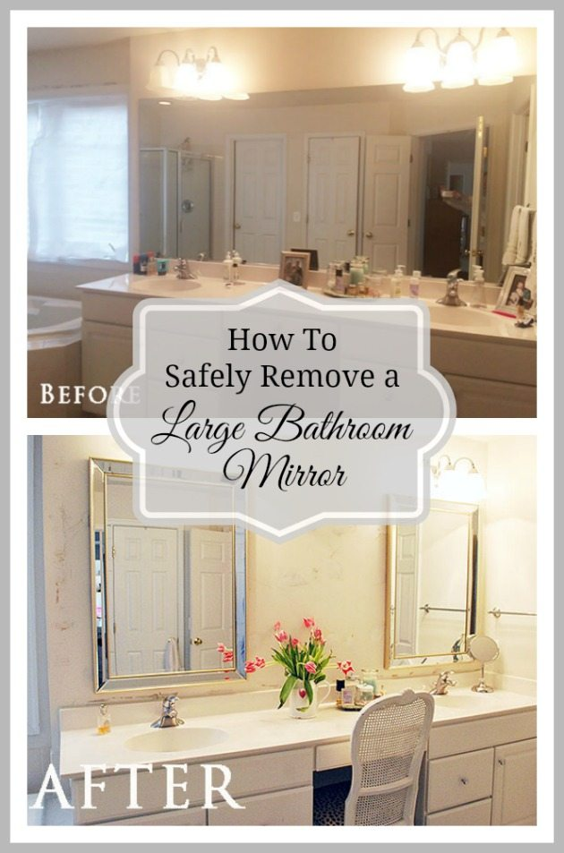 How to safely remove a large bathroom mirror that is glued on the wall.