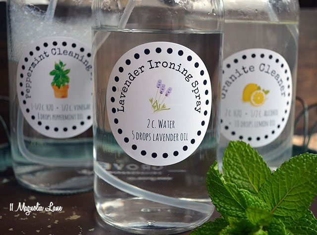 Spring cleaning tips, including natural cleaning solution recipes and free printable labels | 11 Magnolia Lane