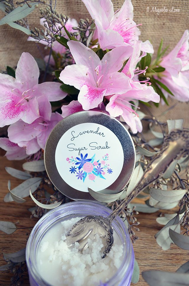 Lavender sugar scrub recipe with free printable labels | 11 Magnolia Lane