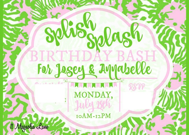 Sunnyside digital invitation for Lilly Pulitzer themed teen girl's birthday party | 11 Magnolia Lane