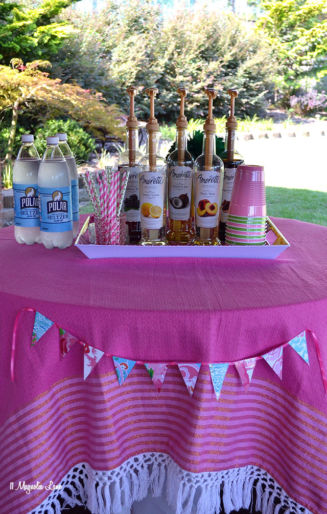 Italian soda bar at Lilly Pulitzer themed teen girl's birthday party | 11 Magnolia Lane