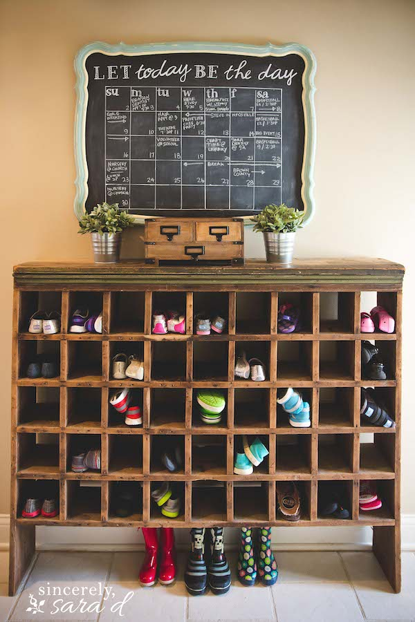 Use a vintage piece for creative shoe organization--part of operation:organization 2016