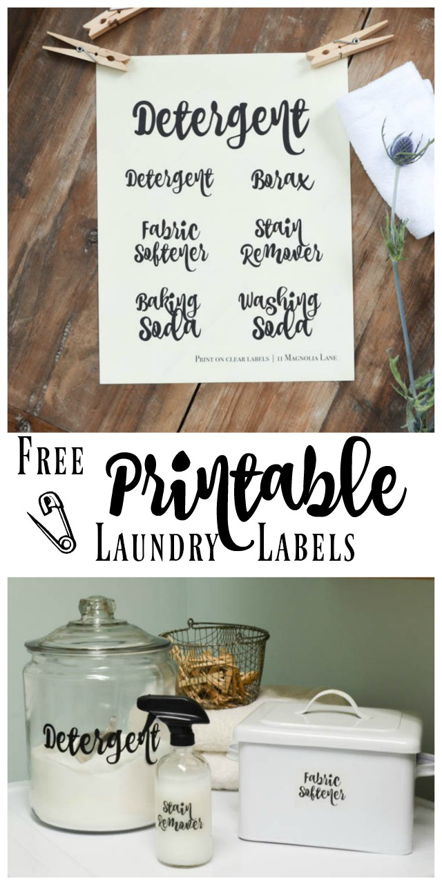 Laundry organization and free printable labels | 11 Magnolia Lane