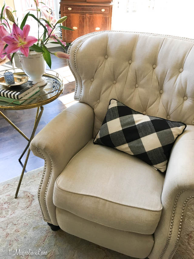 This beautiful recliner is perfect for couples--it's super comfortable, so guys love it, but it's also beautiful, so ladies love it, too! | 11 Magnolia Lane