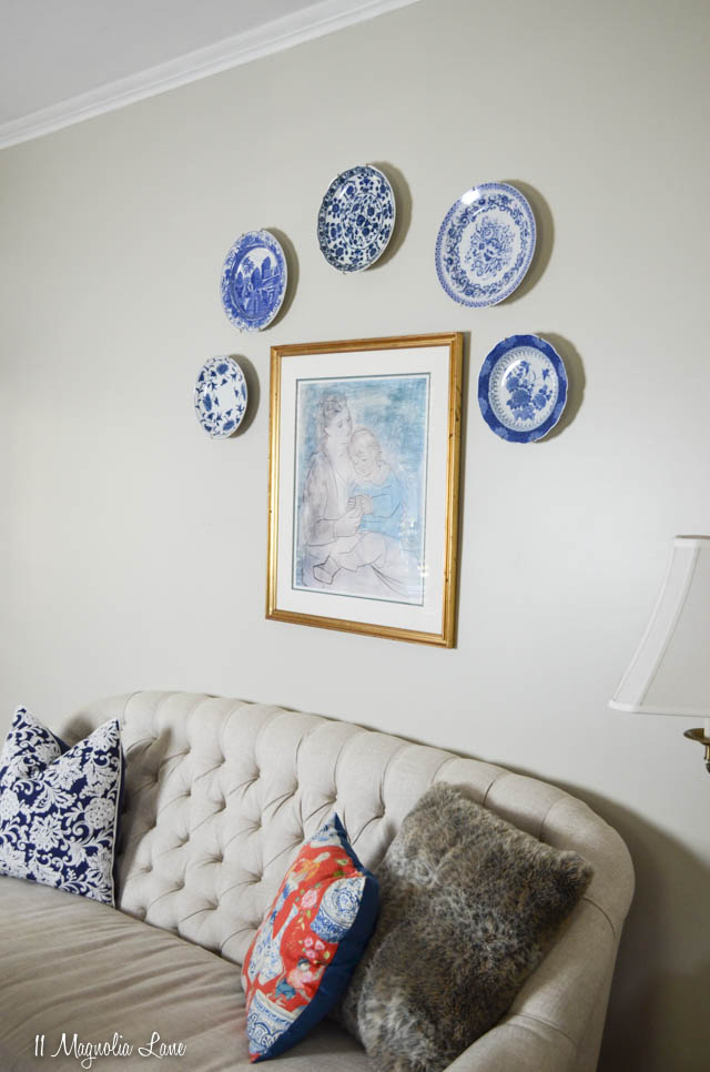 Blue and white plates on wall | 11 Magnolia Lane