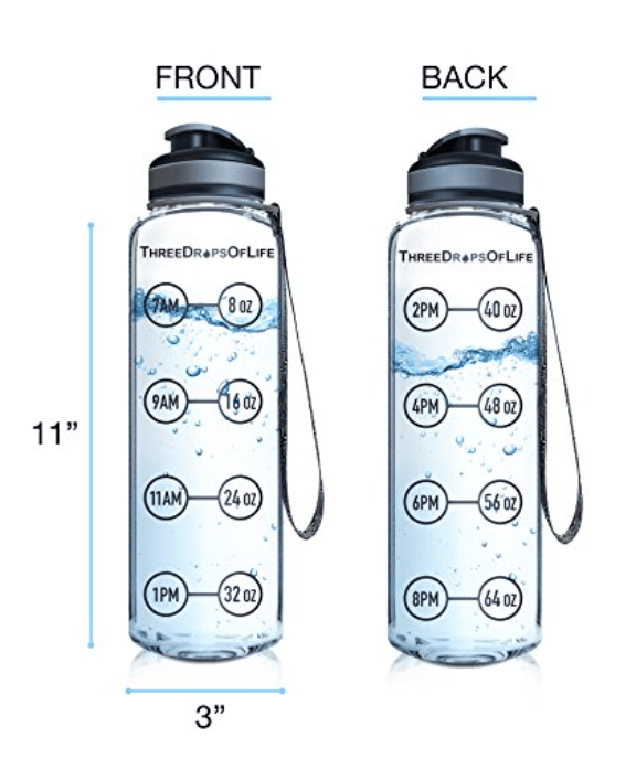 water bottle with hourly measurement