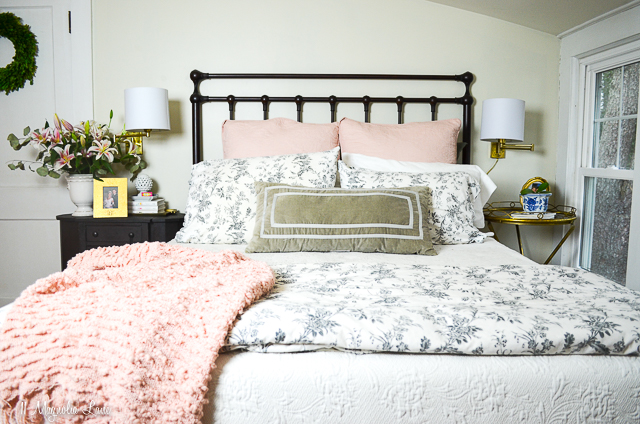 Pink gray and white master bedroom | 11 Magnolia Lane