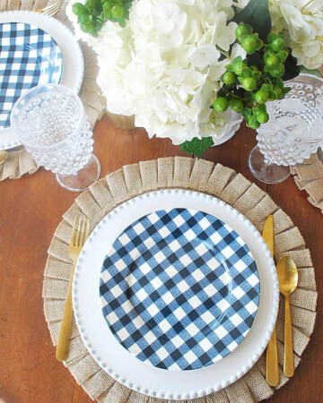 A spring progressive dinner party, a blue and white gingham tablescape