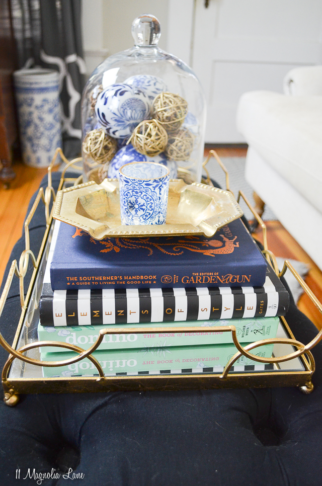 Favorite books to gift, and spring decor in the blue and white living room at the MCC House | 11 Magnolia Lane