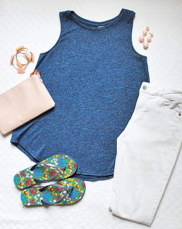 Easy and fun spring outfit, blue swing top, white jeans and floral flip flops. Perfect outfit for a spring picnic!