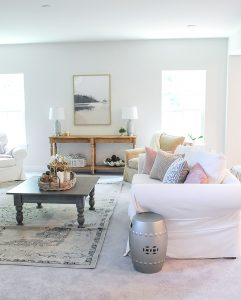 Amy's New Living Room Decorated with neutrals and texture