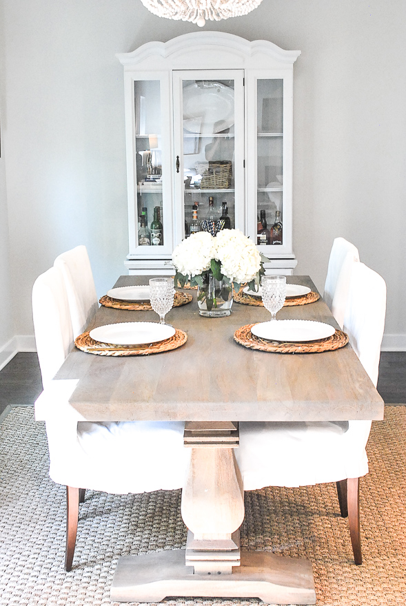An affordable farmhouse kitchen table option perfect for family dining
