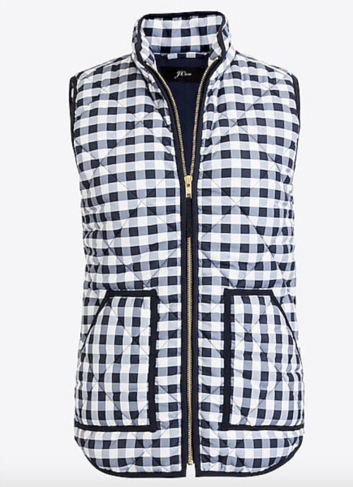Navy & white gingham puffer vest