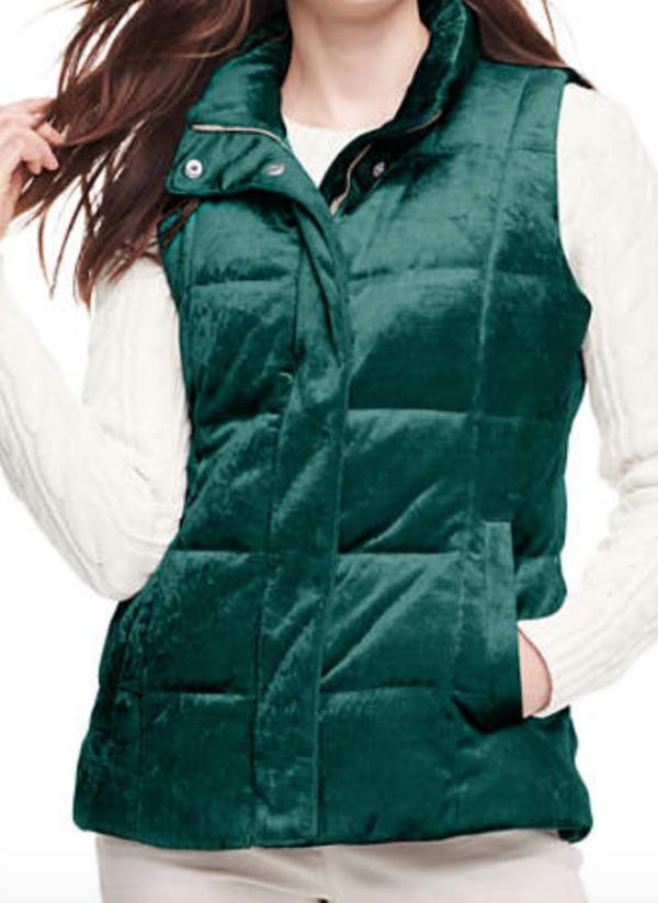 Evergreen velvet puffer vest