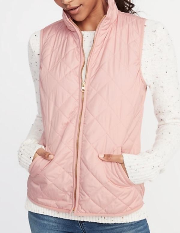 Lightweight pink quilted vest