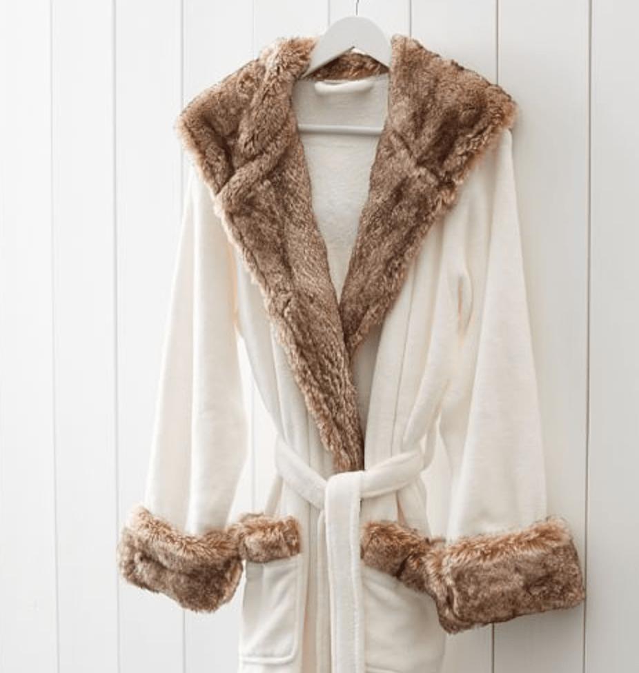 Fur-trimmed robe