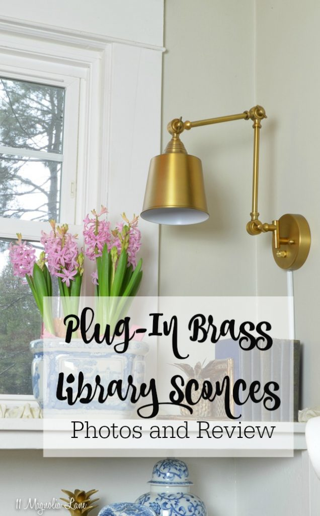 Review and photos of brass gold plug in library wall sconces | 11 Magnolia Lane