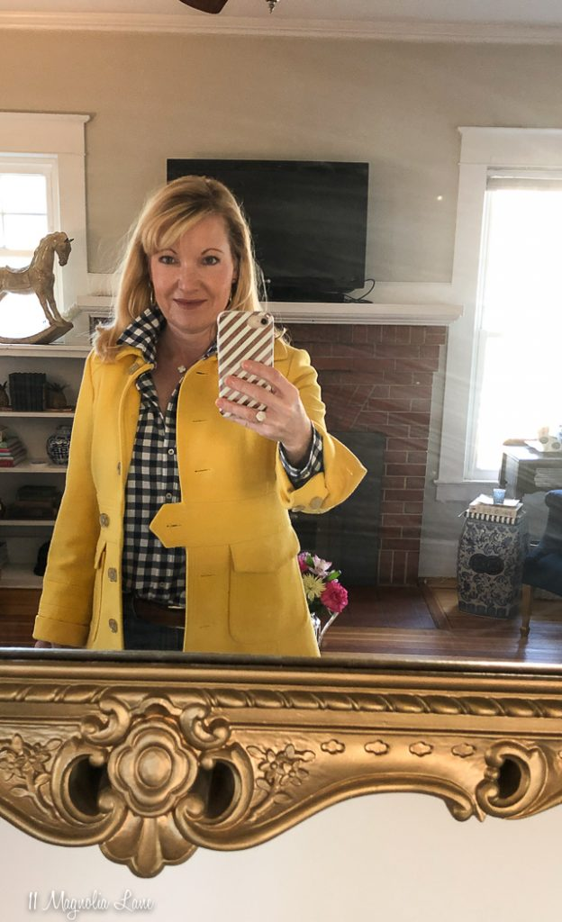 Yellow jacket coat and navy gingham shirt