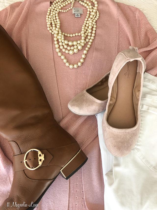 Pink cardigan tan boots pink ballet flats