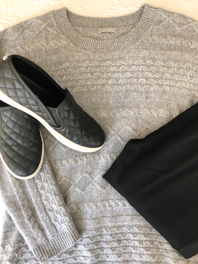 Gray cable knit sweater black leggings black slip on quilted loafers