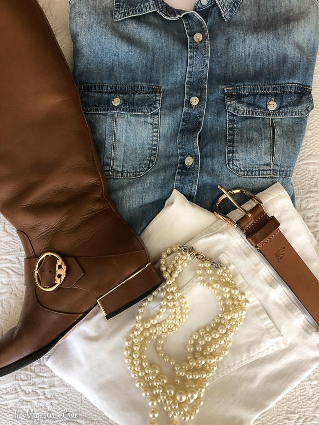 chambray shirt white jeans