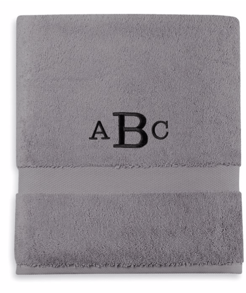 Monogrammed towels graduation gift