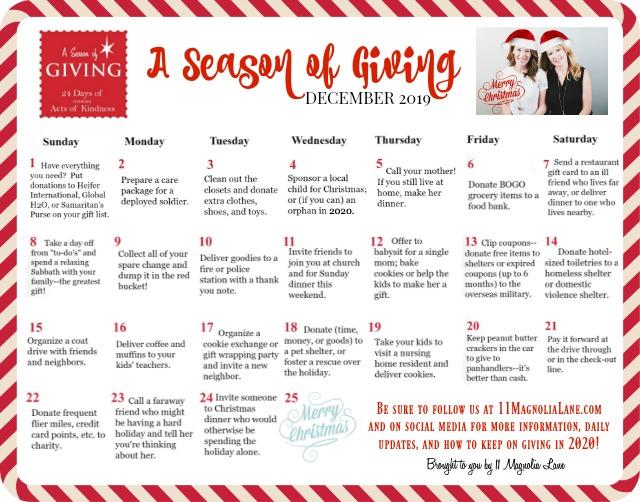 A Season of Giving 2019 Calendar | 11 Magnolia Lane