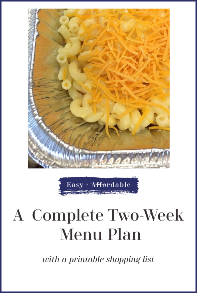 A complete, affordable shopping list and menu plan for a family for two weeks