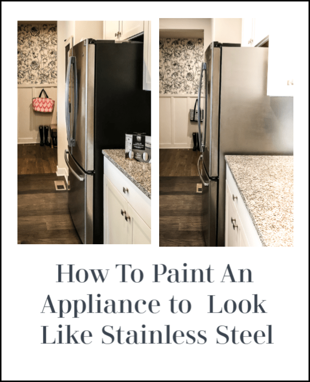 How to paint your appliance to look like stainless steel, great for a refrigerator with a black side or other appliance like a dishwasher, range hood. A