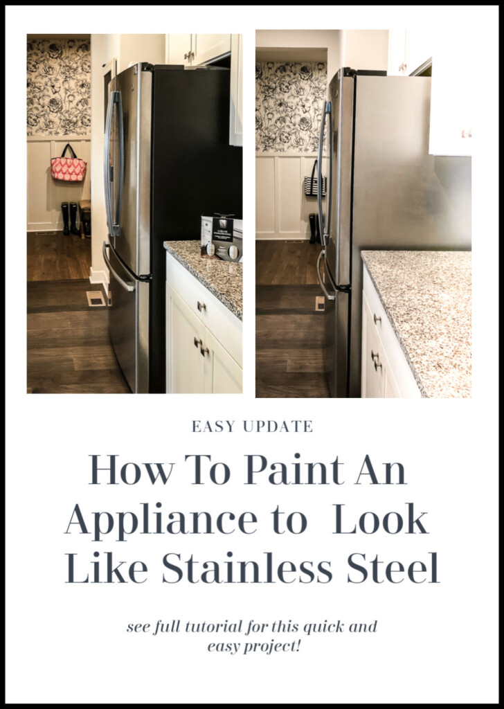How to paint any appliance to look like stainless steel. This easy DIY project updates any appliance to look like stainless and is an easy solution for a big black sided refrigerator.